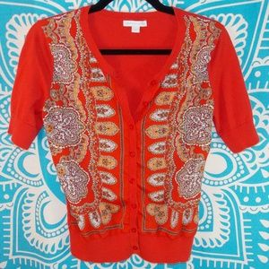 New York & Co Red Sweater Blouse XS S Office Work